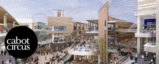 A panoramic image of the main shopping area of the Cabot Circus shopping centre in Bristol.
