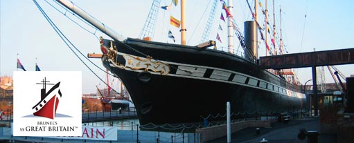 An image of the SS Great Britain, designed by Ismbard Kingdom Brunel.